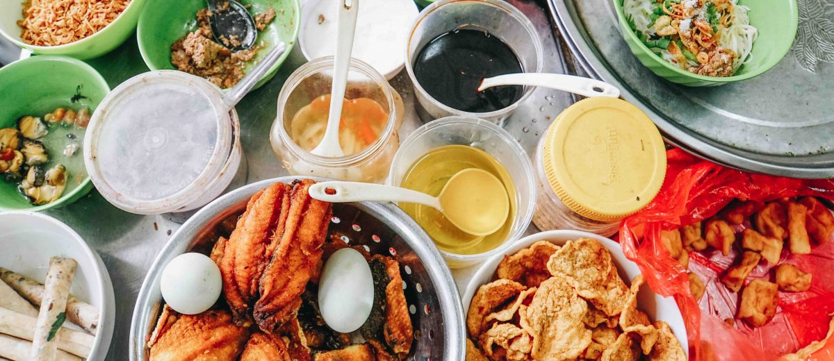 flat lay asian food
