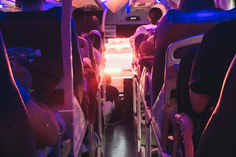 bus interior with fancy lights