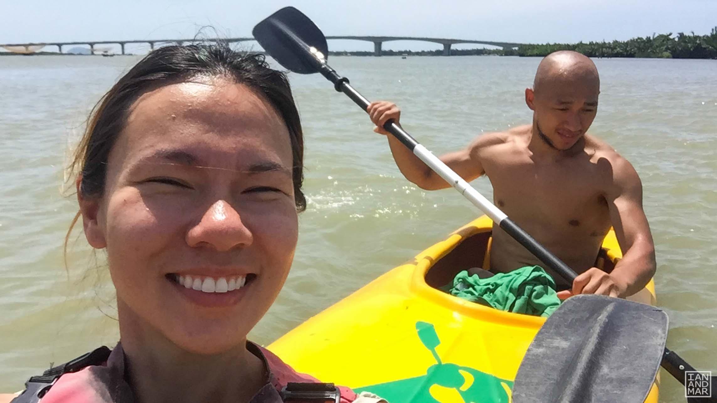 boy and girl on a kayak