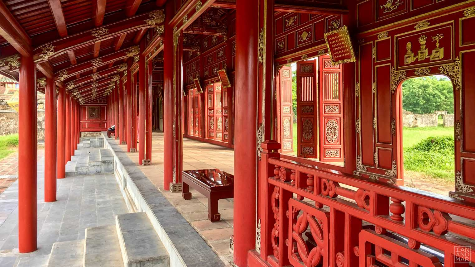 all red oriental architecture