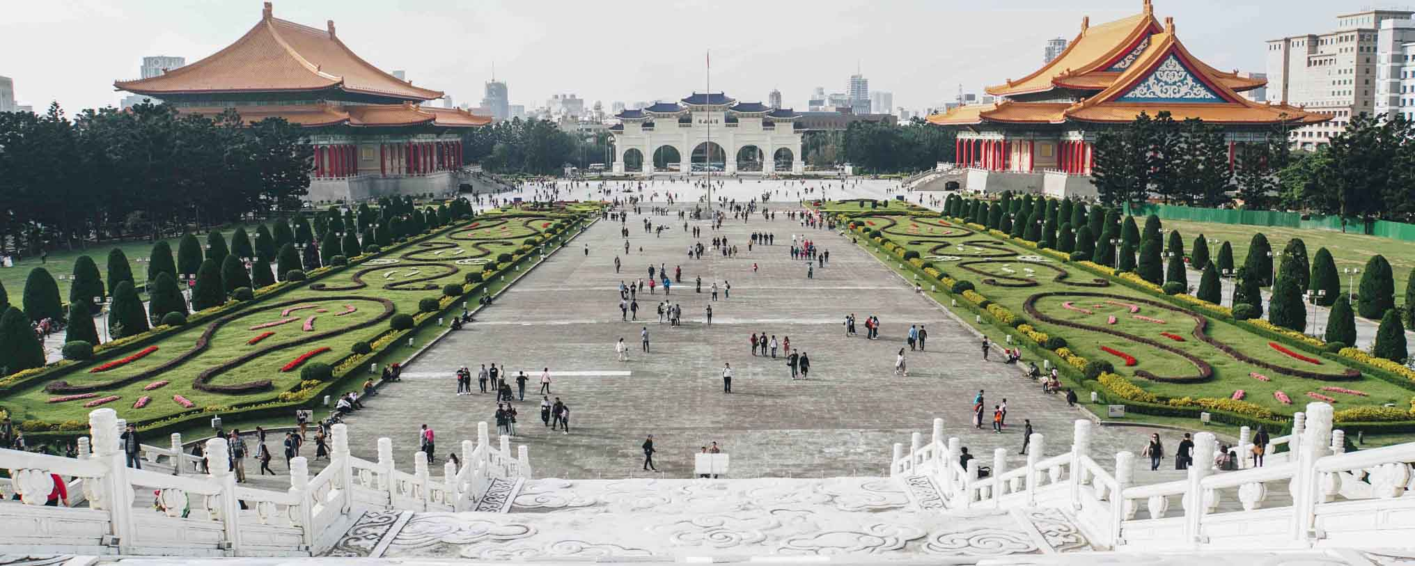 chiang kai shek memorial hall with people