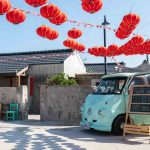 old van and red lanterns