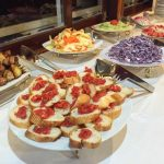 food on buffet spread