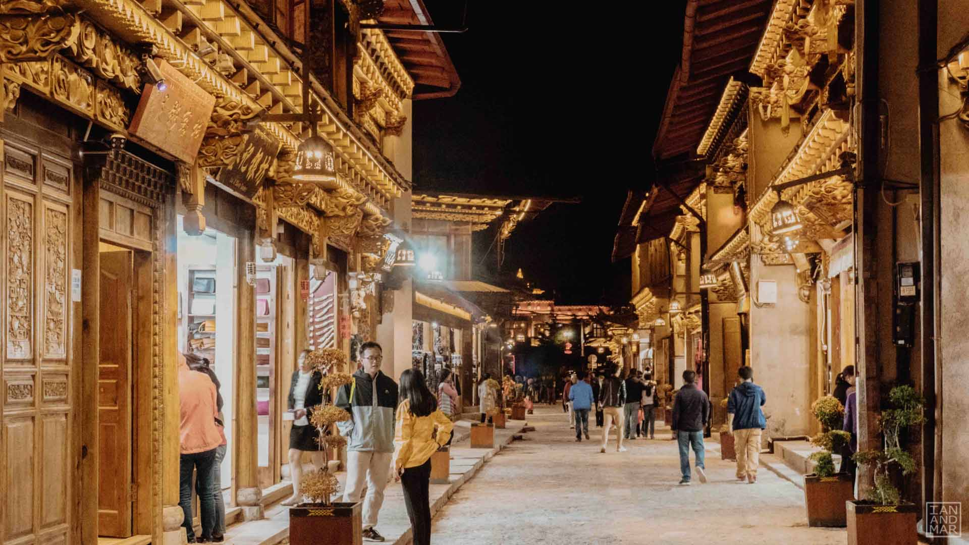 people walking in china old town